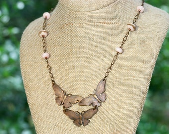 Vintage Brass Butterfly and Pink Lampwork Glass Necklace, Handcrafted Art Glass Jewelry, Romantic, Natural, Woodland, Soft Color Palette
