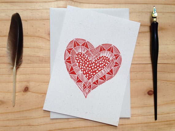 Tribal heart linocut card