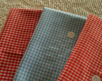 Cotton Quilt Fabric  Gingham Check  18 x 22  Blue