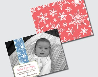 Birth Announcement Winter Baby Snowflake Snow Motif - DESIGN FEE
