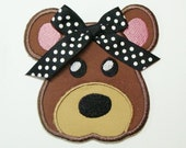 Missy Bear Embroidered Applique Patch-  100154