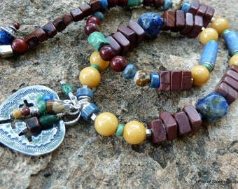 Soulful* Gemstone & Sterling Necklace Earthy Organic Turquoise Lapis Jewelry Blue Yellow Green Brown Western Rustic Heart Cross Jewelry