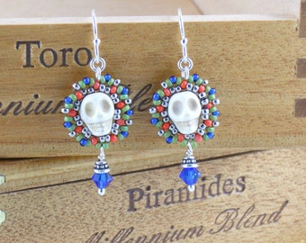 Beadwoven Small Calavera Earrings/ Beige Skulls/ Capri Blue Crystals/ Coral/ Frosted Olive Iris/ Sterling Silver/ Fun/ Sparkly - - - Amata