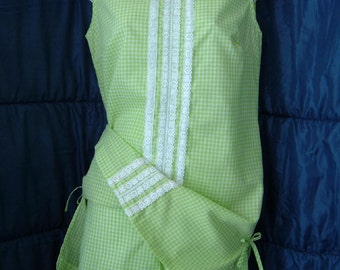 Vintage 60s Playsuit Lime Green Gingham Shorts Top Set Dress Lace NWOT Metal Zippers Side Bows