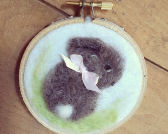 Baby Bunny Rabbit  Needle Felted Decoration Wall Hanging Picture Bird Gift Teacher Hostess Grandparent Bird Watcher Birder
