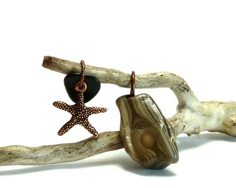 Rare Agate Primitive Beach Stone Jewelry Pendant Starfish Charm Black Natural Agatized Top Drilled Pebble A STAR is BORN