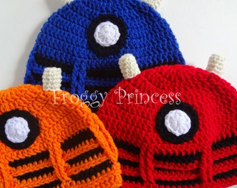 Dalek Doctor Who Inspired Hat CHILD Size Hand Crocheted Red Blue Orange