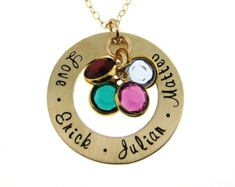 Hand Stamped Jewelry - Gold - Family Names Necklace - Mom & Grandma (NN065)