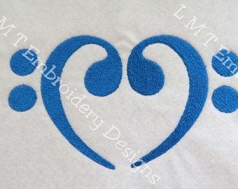 Bass Clef Heart  Embroidery Designs - 2 sizes