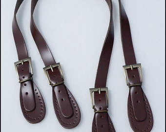 24.75 inches 1 pairs of Dark Brown Genuine Leather Adjustable Handbag Handle Bag Supply