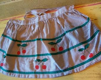 vintage stripes and cherries apron
