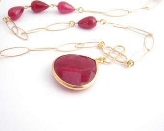 Ruby Chain Pendant Necklace, Gold Chain, July Birthstone, Long Necklace, Christmas Red