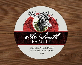 Custom Return Address Labels - Moose Wreath