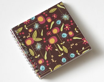 Small Coupon Organizer with 14 Pockets - Pre Printed Labels Included - Brown with Colorful Flowers