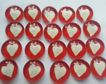 Hand painted glass gems party favors mosaic tile white HEARTS HEART on red