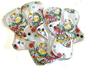 MADE TO ORDER - Starter Set -  Reusable Cloth Menstrual pads- set of four - two 11 inch and two 9 inch- choose your fabric and absorbency