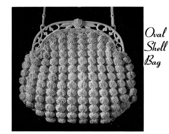 "Vintage Crochet Pattern 1930's Gimp Purse Pattern ""The Oval Shell Bag"" -INSTANT DOWNLOAD-"