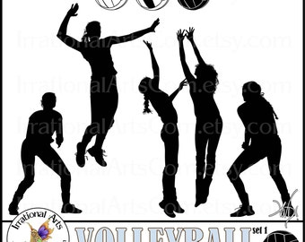 Volleyball Female Silhouettes set 1 INSTANT DOWNLOAD 8 png graphics volleyball players and balls clipart graphics