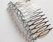 Dusty Blue Diamond Swarovski Crystal Hair Comb - Cerulean / Baby Blue / Something Blue Wedding Bridal Hair