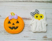 Owl Ghost and Pumpkin Appliques, Machine Embroidered Halloween Appliques, Halloween Appliques, Owl Ghost Felt Appliques, Halloween Felties