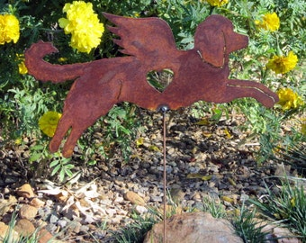 Rusty Finish Goldendoodle Dog Angel Memorial Garden Art Stake