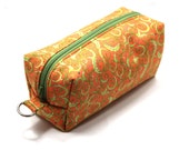 Medium Zipper Box Pouch Project or Travel Case Orange with Lime Green Swirls