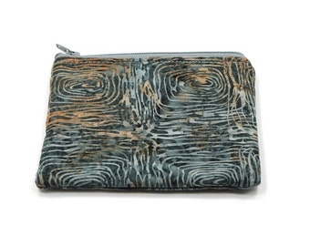 Pocket Zipper Case, Change Purse, Card Case, Coin Purse, Gray Tree Circles Batik 5364
