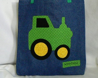 Personalized Tote Bag|Green Tractor Tote Bag|Kid Personalized Tote Bag|Boys Tote Bag|Gift for Grand Kids|Christmas Gift Bag|Toddler Tote Bag