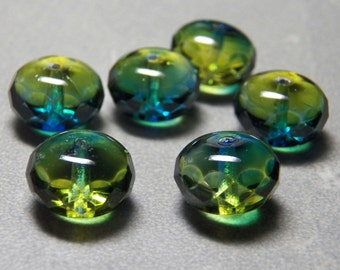 Czech Aqua Green 9x14mm Faceted Fire Polished Glass Rondelle Beads (6)