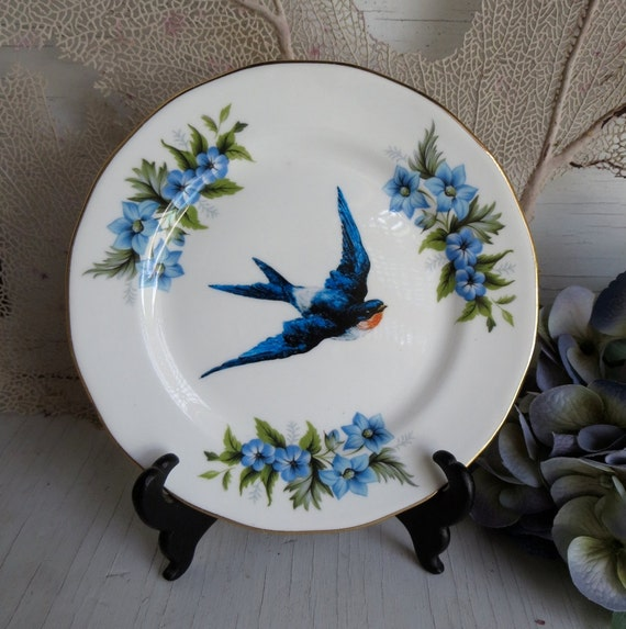 Sparrow Swallow Blue Bird Altered Antique Wall Plate Pale Blue Pink Chase and Scout C&S
