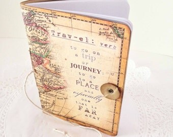 Travel Journal, Twist Tie Map Journal, Atlas Books and Notebooks Trip Jotter, Small Adventure Planner, Made to Order Wedding Party Favor