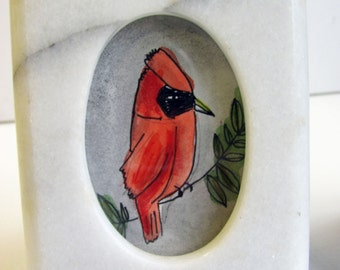 Cardinal, small framed drawing