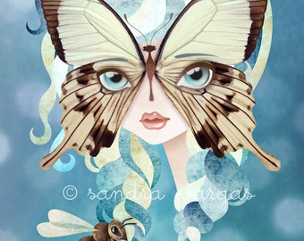 Niella Butterfly Girl 8 x 10 inches Digital Illustration Art Print by Sandra Vargas