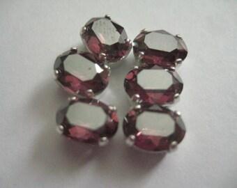 6 8x6mm Rose Satin Oval Swarovski Rhinestones in silvertone Sew on Settings
