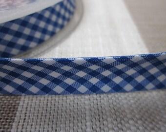 5m Royal Blue and White Gingham Print Bias Binding