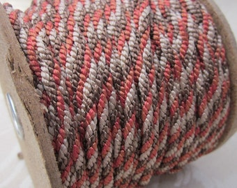 3 Metres 4mm Tricolour Red, Brown, Fawn Lacing Cord