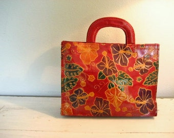 Vintage Red Leather Floral Handbag Purse- Made in India