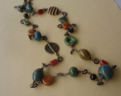 Long Antique Brass Mixed Ceramic Bead Necklace