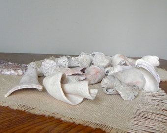 Vintage seashells and other beach creatures tumbled distressed - great bowl filler - No. 4 - 36 pieces