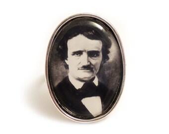 Edgar Allan Poe ring The Raven silver adjustable ring steampunk gothic goth