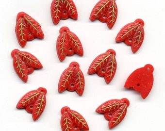 Vintage Egyptian Revival Beads 2 Hole Leaf Shape Red & Gold + Jump Rings