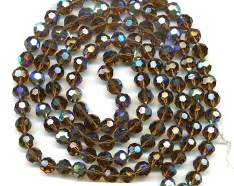 Vintage Crystal Beads 8mm Topaz AB Faceted Round 120 Pc. Original Strand