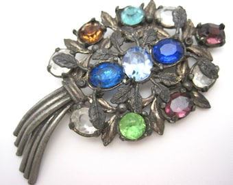 Vintage Rhinestone Bouquet Brooch - Pot Metal