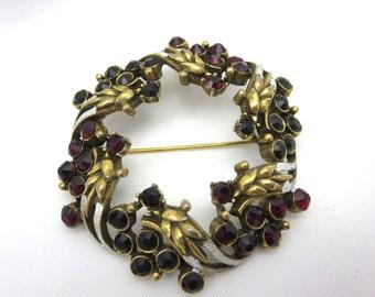 Vintage Wreath Brooch - Florenza Rhinestone Black Red White