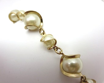 Caged Pearl Bracelet - Costume Jewelry