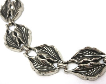 Silver Leaf Necklace - Short Collar Length Costume Jewelry
