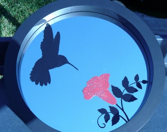 Etched Mirror with Hummingbird