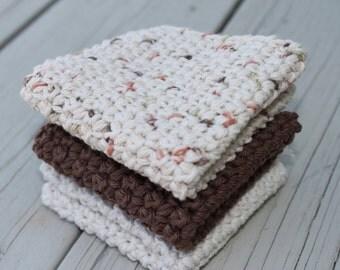 Crochet Wash Cloths Natural All Cotton Dish Cloths