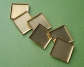 Brass 20mm Low Wall Closed Back Square Bezel Cup Settings for Flat Back Cabs or Stones (12 pieces)