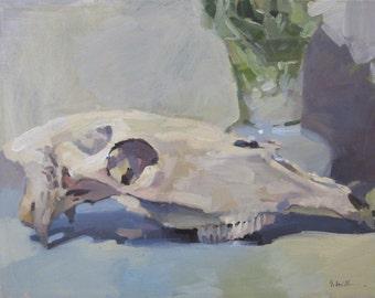 """Framed oil painting skull art """"Horse Skull no. 1"""" original by Sarah Sedwick 11x14"""""""